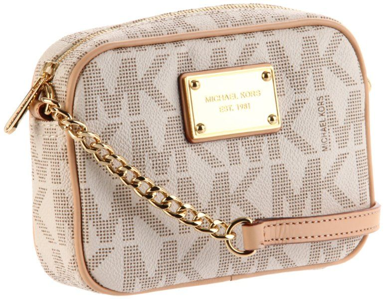 752e07cb6729 MICHAEL Michael Kors Mk Logo Crossbody Bag,Vanilla,one size:Amazon:Shoes