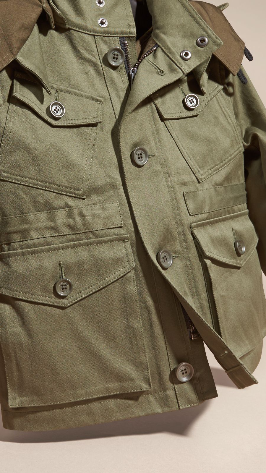 A classic four-pocket Burberry field jacket in cotton sateen with a ...