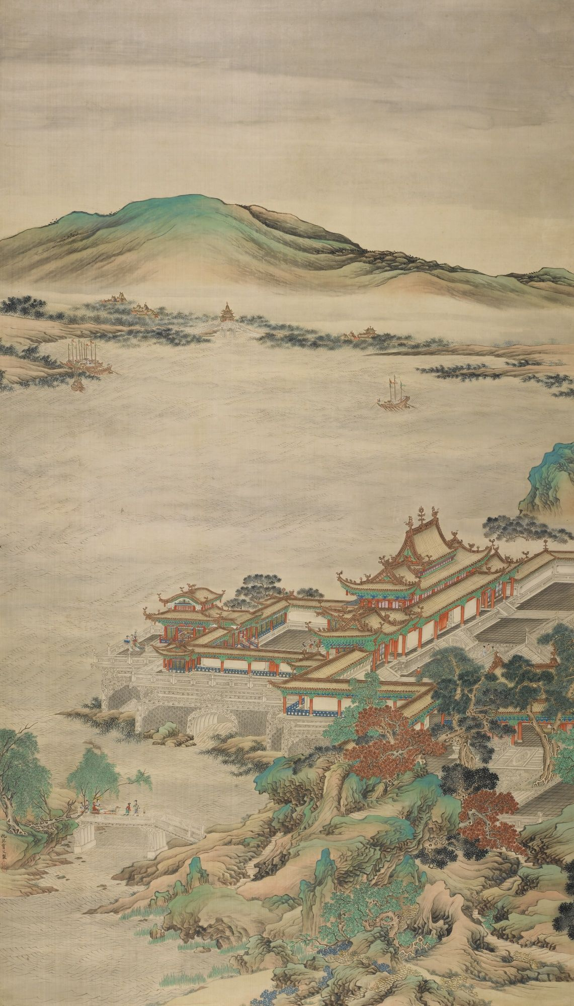 Attributed To Qiu Ying Chinese 1494 1552 Palace Of The