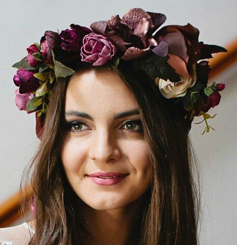 Marsala Race Flower Crown Cranberry Burgandy Flower Crown Headband Melbourne Cup Race Headwear Flower Crown Spring Racing Carnival Floral #crownheadband