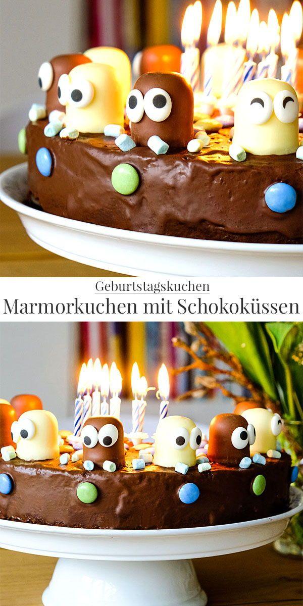Schokokusskuchen (Marmorkuchen) mit Schokoküssen und Augen