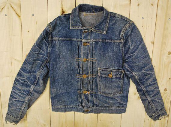 Vintage 1930 39 S 40 39 S Gwg One Pocket Buckle Back Denim Jean Jacket Front Pleats Retro Collectable Ra Vintage Denim Jacket Vintage Jeans Vintage Denim