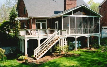 Change Existing Deck Area To Sunroom And Extend Deck Out And Over To