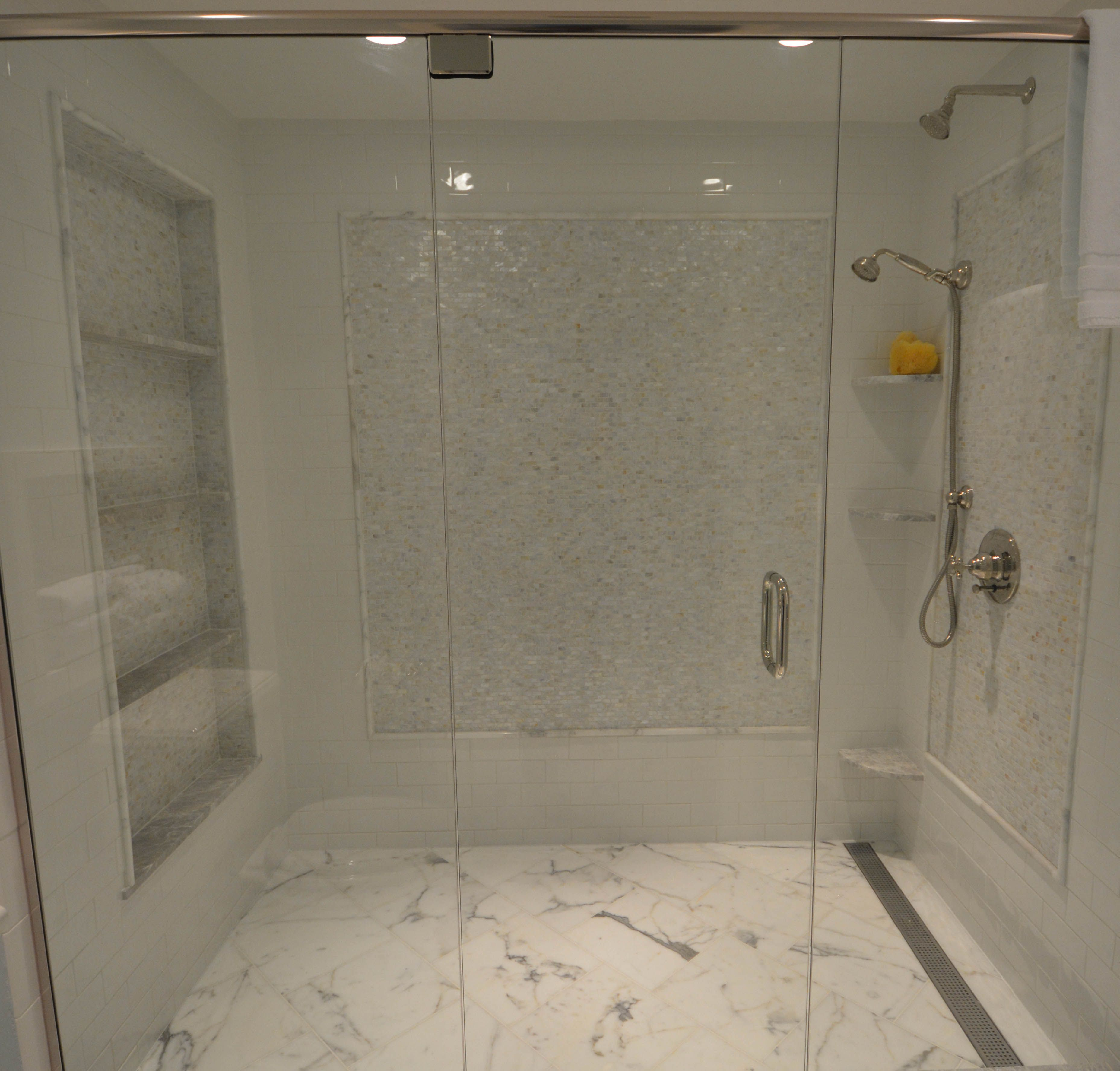 Walk In Shower With White Gray Tile, Multi Shelf Niche For Saving Legs Part 88