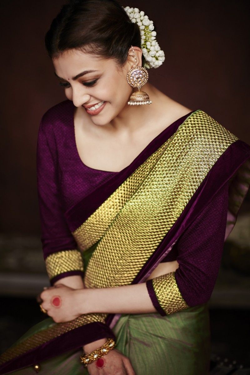 Kajal Aggarwal Olive Green Colour 1228km Saree Photoshoot Saree Poses Kajal Agarwal Saree