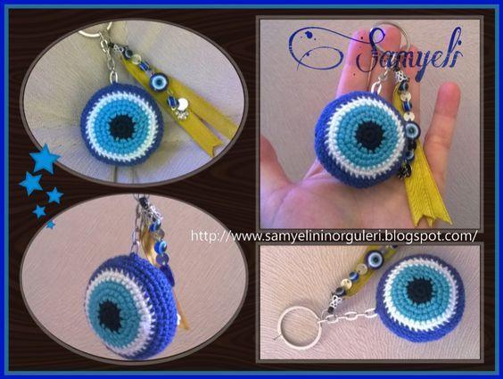 Amigurumi Anahtarlık Tarifleri : Evİl eye bead free pattern nazar boncuğu anahtarlık ve yapılışı