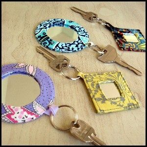 mirrored key rings crafty