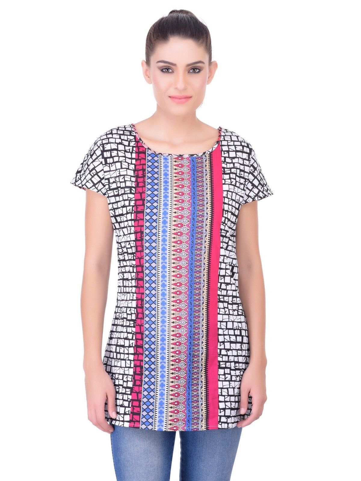 Multicolor Laabha New Top Collation Blouse T-shirt Stylish Printed Shirts Women