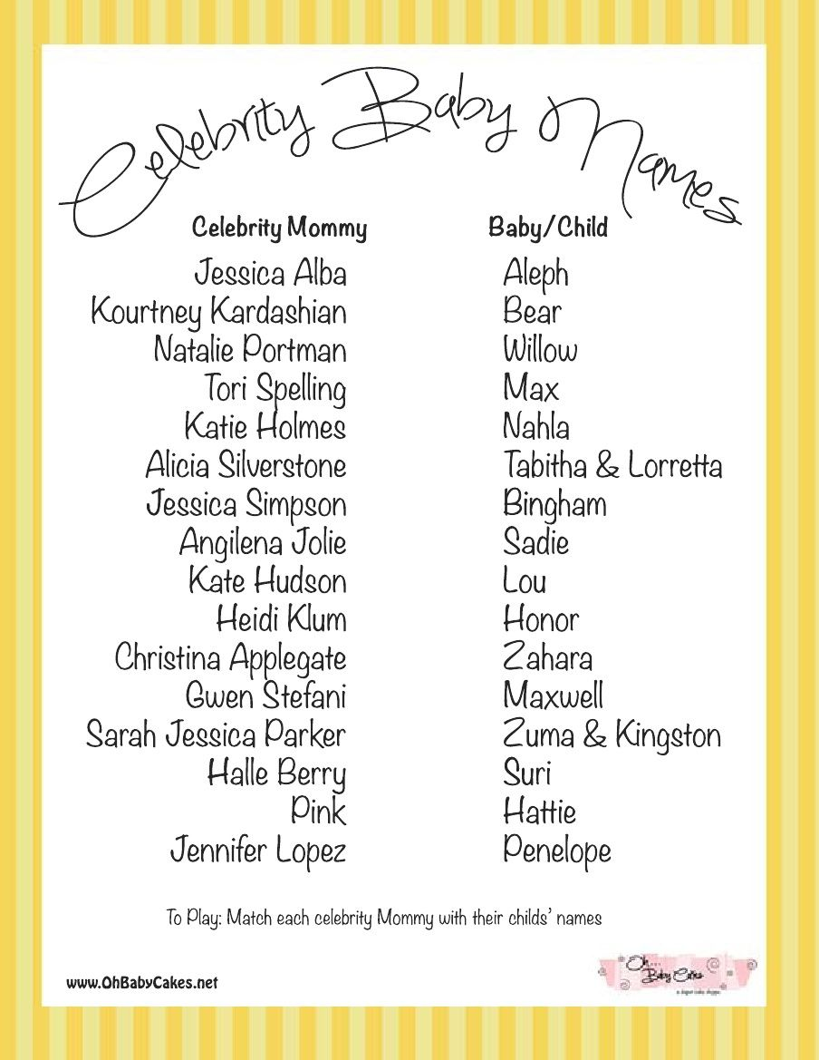 Celebrity Baby Names Game Yellow Celebrity Baby Names Baby Name Game Celebrity Baby Showers