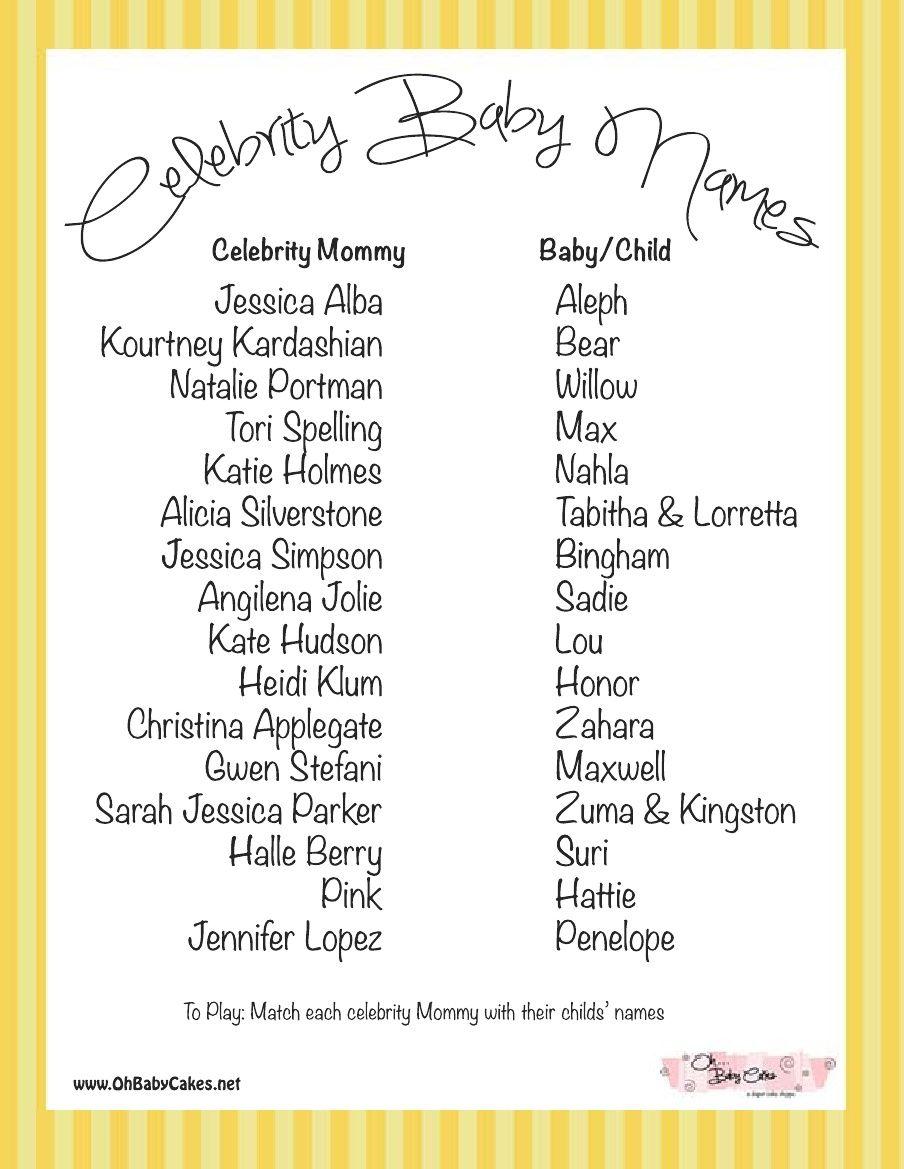 Bathroom Names: Celebrity Baby Names Game (Yellow)