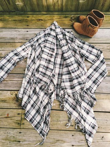 "Fringed Open Flannel Jacket Follow us on Instagram & Facebook ""Thelacegypsyboutique"""