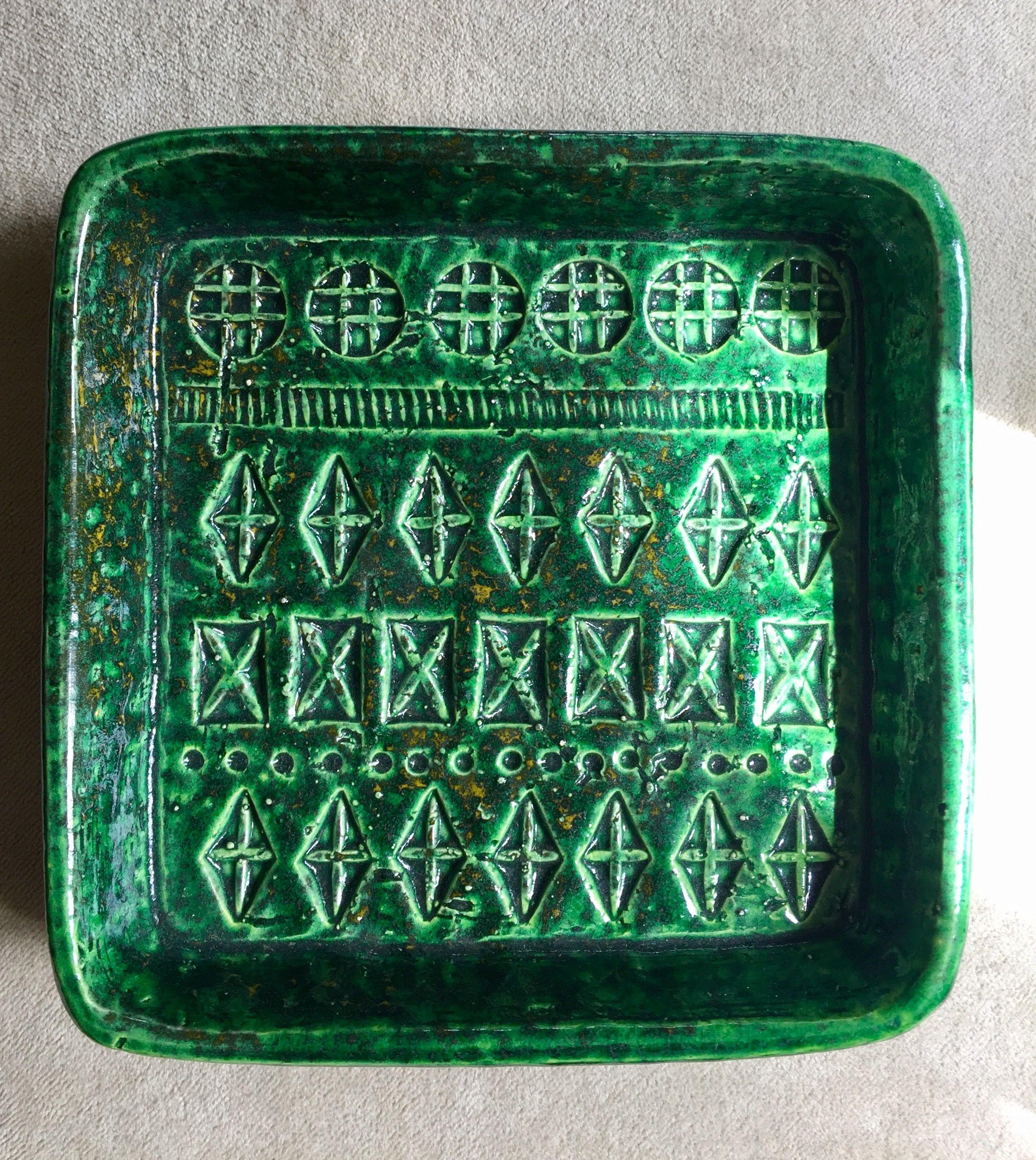 Bitossi Rimini Green ashtray. Aldo Londi. Mid century