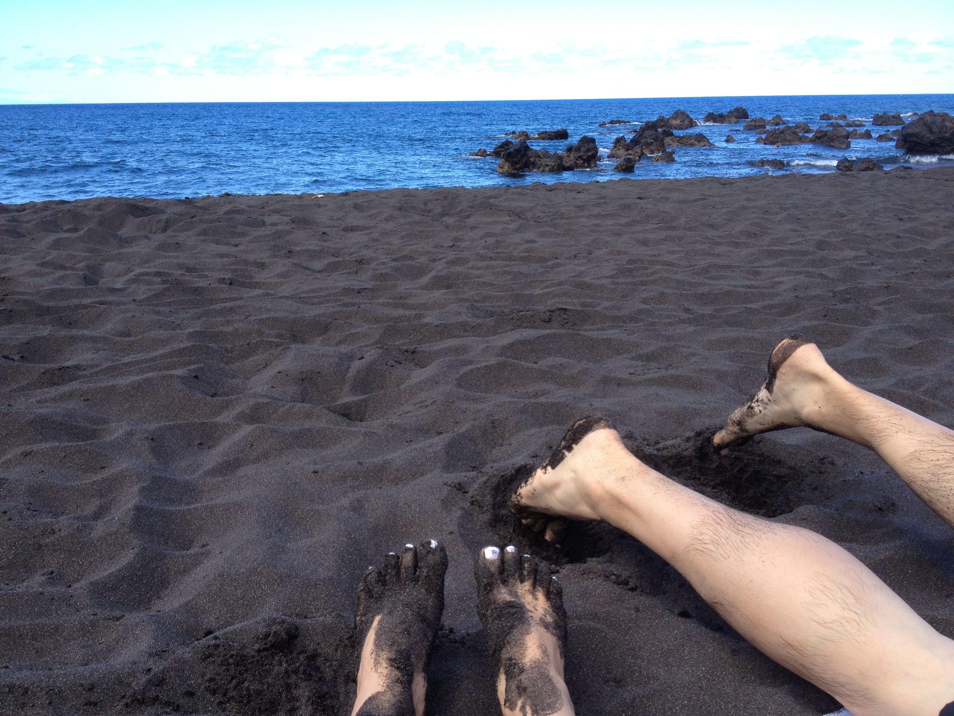 Beautiful black sand beaches in buenavista tenerife