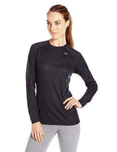 Mizuno Running Womens BT Base Layer Crew BlackShocking Pink XLarge    You  can find out d6e002e645