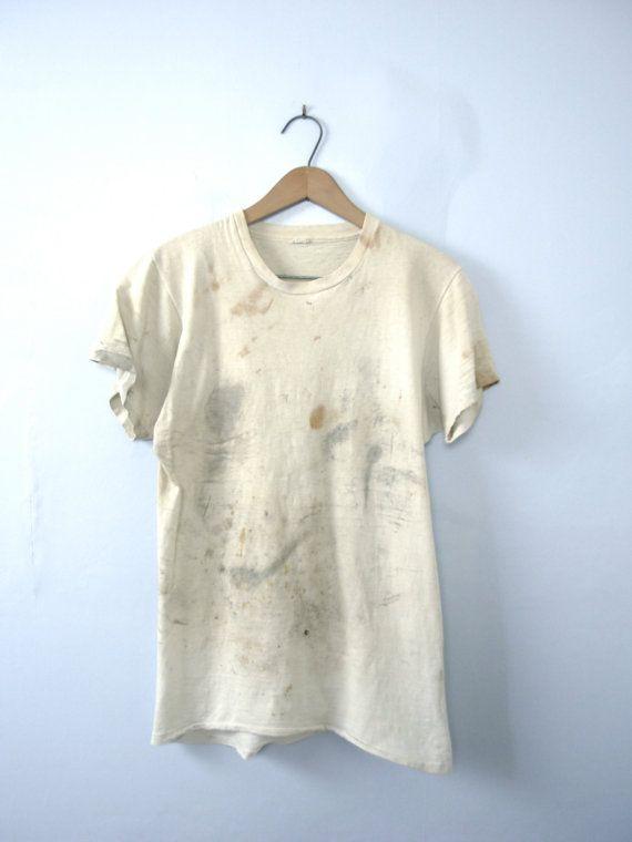 One Vintage 1990s Grunge Shirt Distressed Tee Size Medium Crew Neckline Naturally Distressed Coloring Grunge Shirt Distressed Tee Vintage Mens Fashion