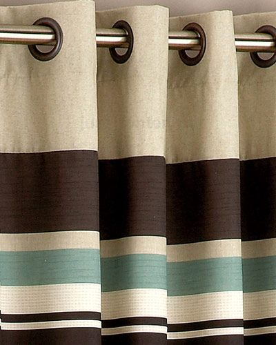 Harvard Duck Egg Blue Brown Eyelet Lined Curtain Curtains Uk