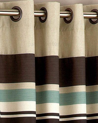 Living Room Ideas Harvard Duck Egg Blue Brown Eyelet Lined Curtain