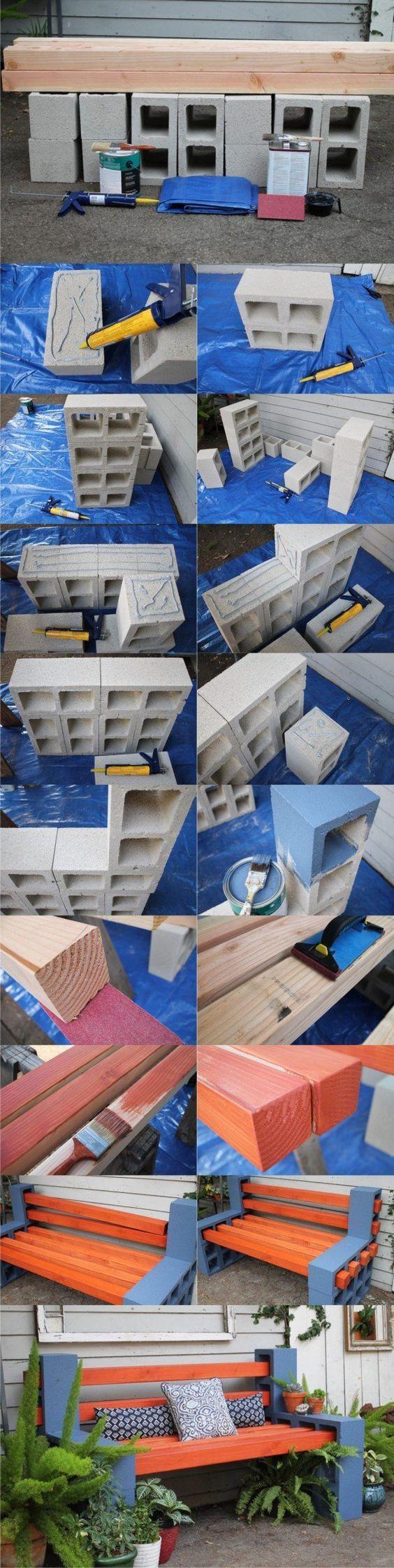 banco con ladrillos de cemento ymadera:
