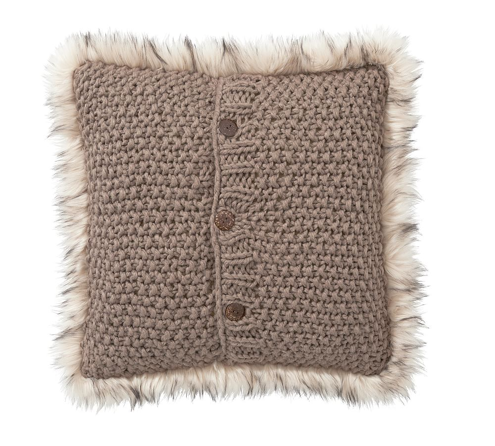 """20/"""" Pottery Barn FAUX FUR BLUSH Knitted PILLOW Cover Bed Sofa Christmas GIFT NEW"""
