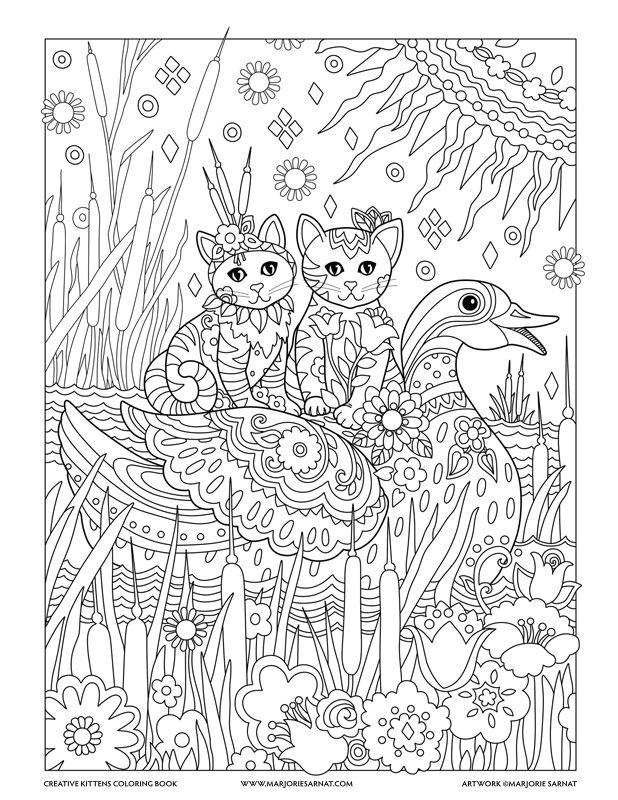 Cattails And Duck Creative Kittens Coloring Book By