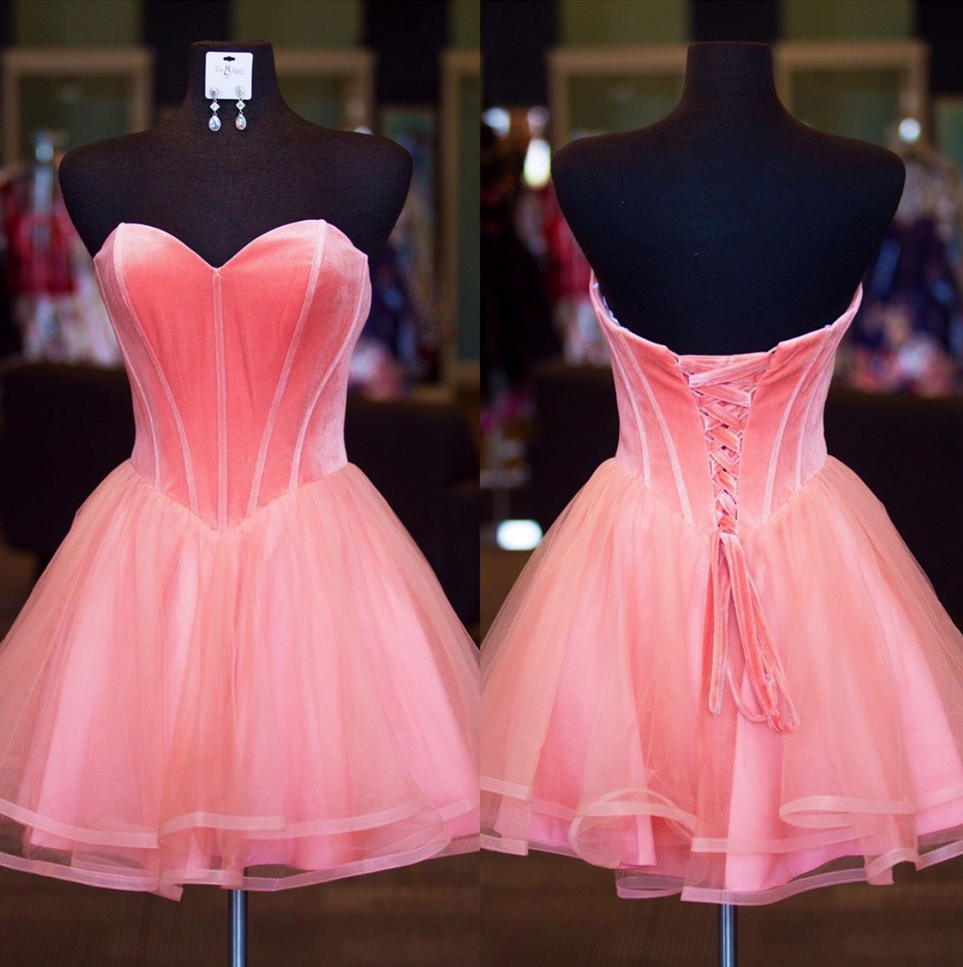 Pretty Pink Organza Homecoming Dresses Short Sweetheart Prom ...
