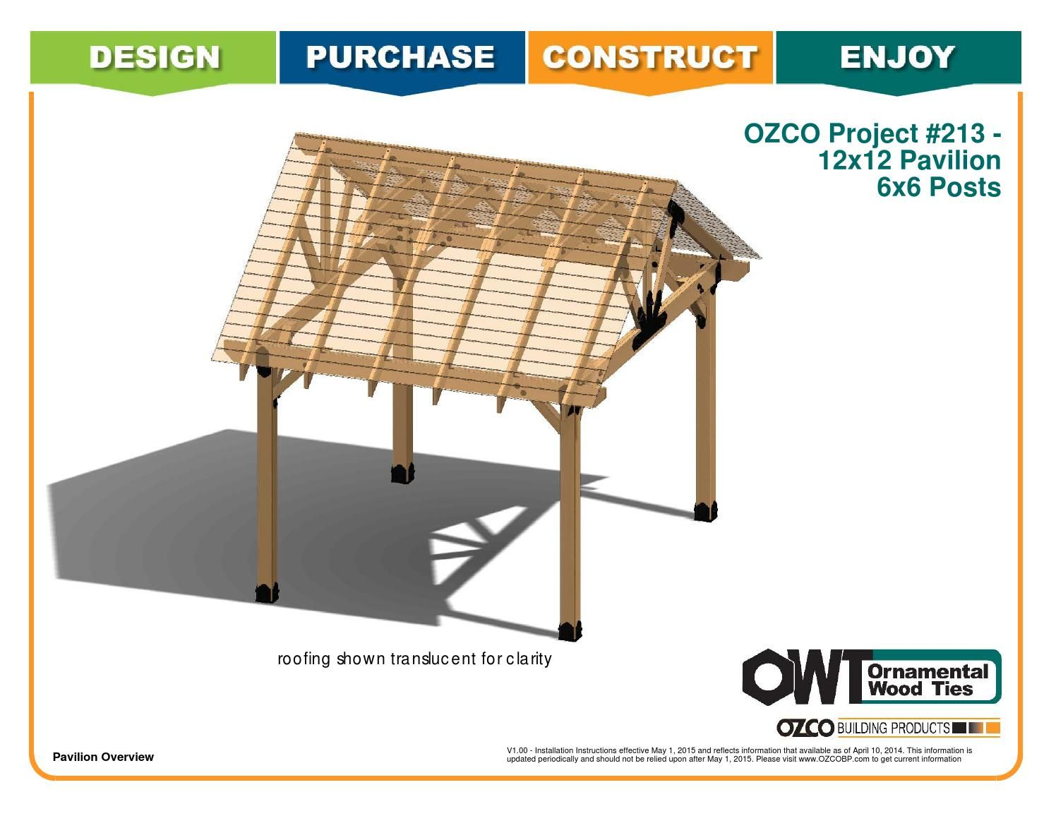 Ozco Project 12x12 Pavilion With 6x6 Posts 213 Pavilion Plans Carport Designs Pool House Shed