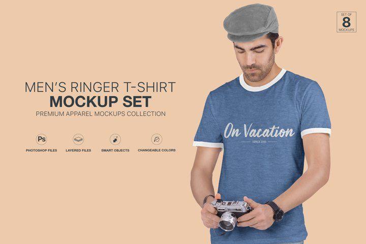 Download Mens Ringer T Shirt Mockup Set Advertise Advertising Apparel Blank Branding Casual Fashion Isolated L Shirt Mockup Tshirt Mockup Business Card Mock Up