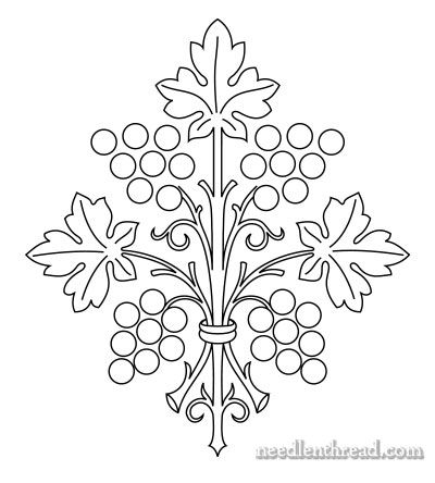 Free Hand Embroidery Pattern: Stylized Grapes