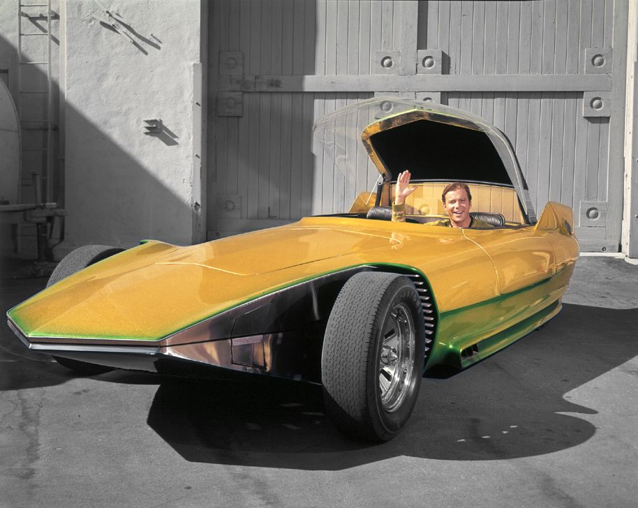 Star Trek TV 1960's William Shatner at the wheel of 'The Reactor' a custom car. Called the 'Jupiter 8' in the episode 'Bread and Circuses'