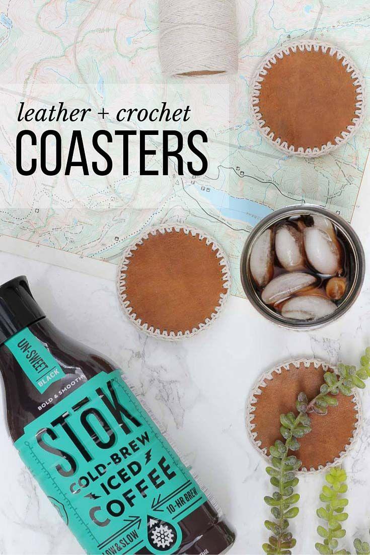 Masculine DIY Leather + Crochet Coasters - Free Pattern | Patrón ...