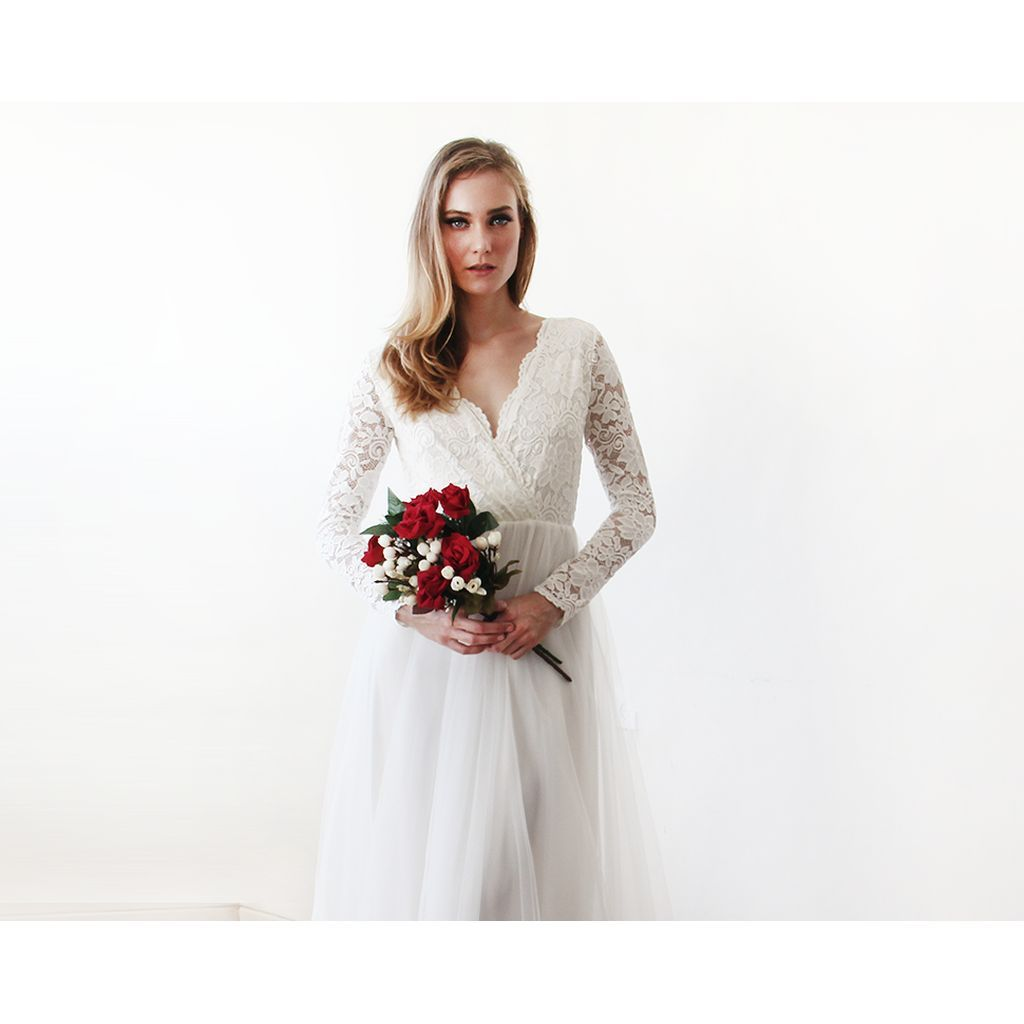 Ivory tulle and lace long sleeve wedding maxi dress maxis