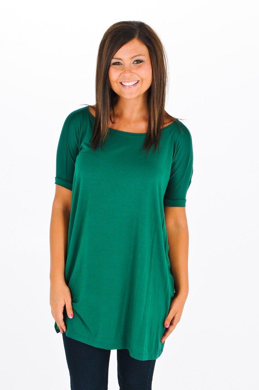 ae21abf2a86 La'Rue Essential Piko Tunic - Short Sleeve - Hunter Green | Pikos | Kiki  LaRue Boutique