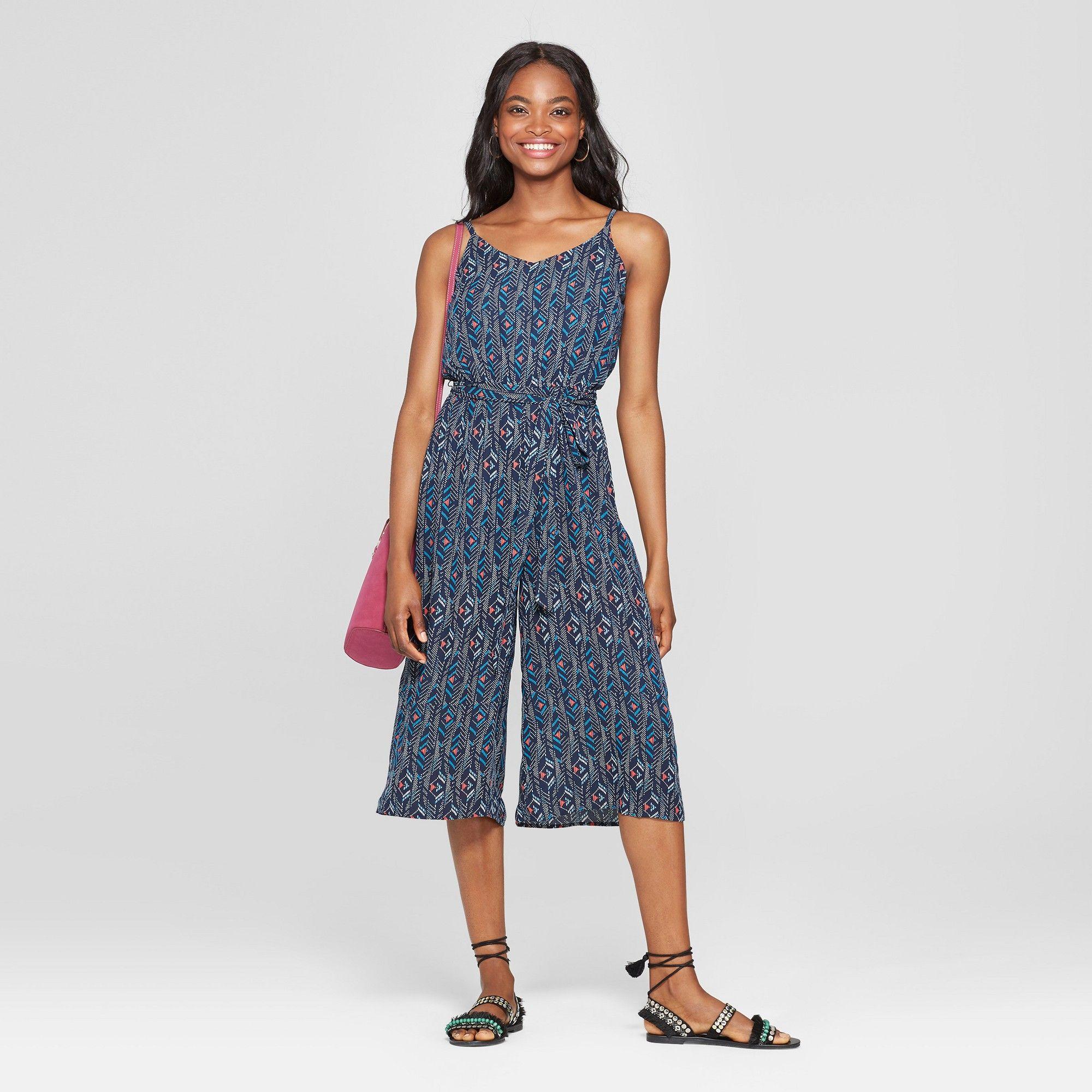 ee0156b8dba0 Women s Tribal Print Sleeveless Tie Waist Jumpsuit - Lily Star (Juniors )  Navy S