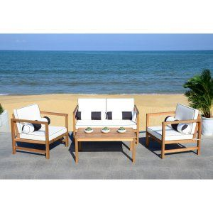 Safavieh Montez Eucalyptus Wood 4-Piece Conversation Set ... on Safavieh Outdoor Living Montez 4 Piece Set id=31405