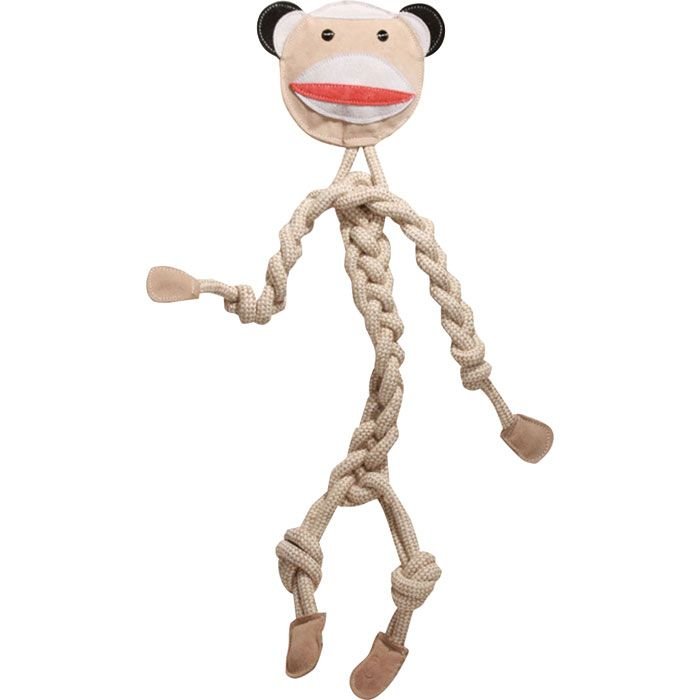 Rope Knotties - Sock Monkey - Regular    Rope Knotties are the perfect toy for dogs that love to chew and tug! Made with an all-natural blend of cotton and hemp, each toy is super durable and great for tuggin' and tossin'! Also helps develop an interactive bond between dog and owner!