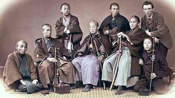 A group of samurai with a foreigner (far right).