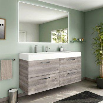 Meuble de salle de bains plus de 120, brun   marron, Neo line - leroy merlin meuble salle de bain neo