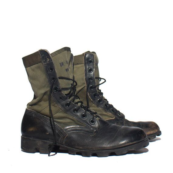b86caa27ebb154 Men's Vintage Combat Boots Military Jungle Boots Green and Black ...