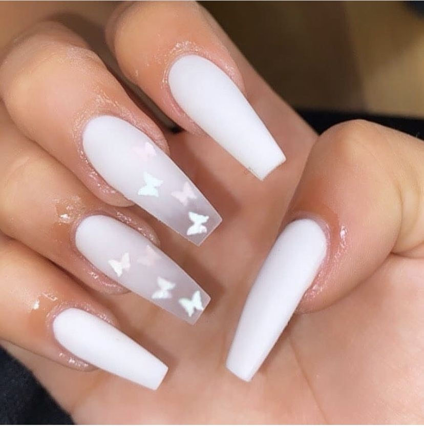 Butterfly Nails White Nails Press On Nails Birthday Gift Idea In 2020 Acrylic Nails Coffin Short Coffin Shape Nails Short Acrylic Nails Designs