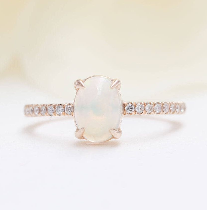 14k Gold Opal Diamond Engagement Ring Diamond Engagement Ring Opal Fire Ring Valentine Ring October Birthstone Ring Promise Ring Opal Gift Opal Diamond Engagement Ring Engagement Rings Opal Opal Gifts
