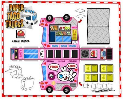 Paper Taco Trucks Papercraft kawaii pink 『 papercrafts 』 Paper