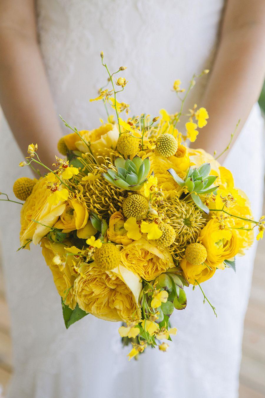 Yellow Garden Roses, Craspedia, Protea, Spray Orchids and