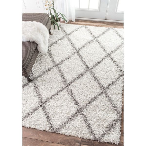 nuloom soft and plush modern diamond trellis moroccan lattice shag white rug 9u0027 x