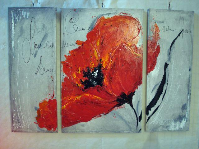 triptique coquelicot | toiles peinture acrylique | pinterest ... - Technique Peinture Acrylique Sur Bois