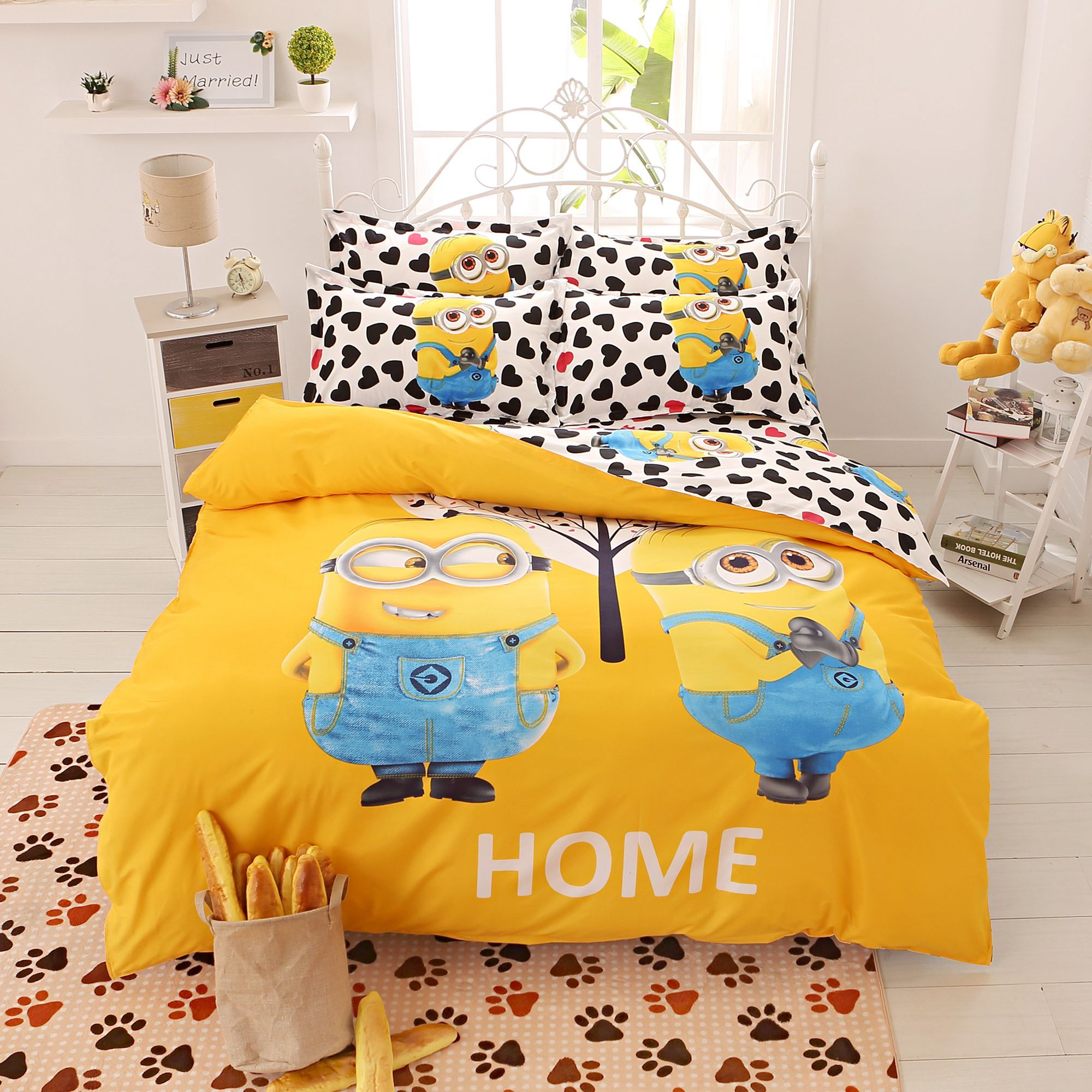 pas cher bande dessin e ensemble de literie 4 pcs impression cama minions literie housse de. Black Bedroom Furniture Sets. Home Design Ideas