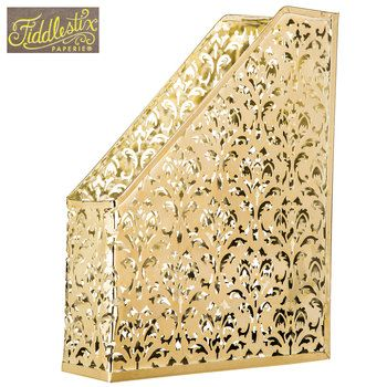 Gold Swirl Metal Magazine Holder