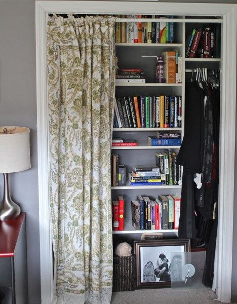 curtains covering a closet | ... it! Everything nice and neat, hidden behind a pretty little curtain