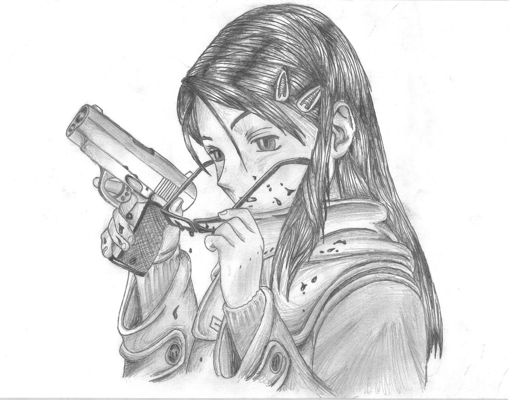 Sketch Of Badass Women | Anime Girl With Gun By Iloveloyers | Mind Weasels | Pinterest | Anime ...