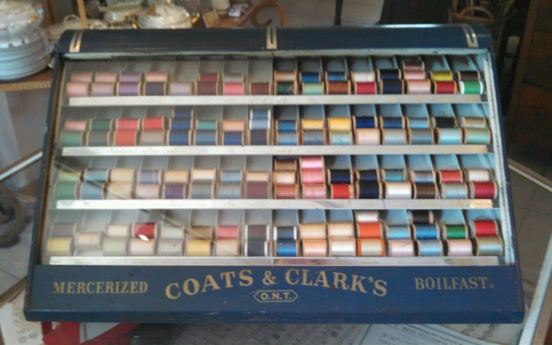 Vintage Coats Clark's O N T Mercerized Boilfast Metal Thread Display  Cabinet | eBay