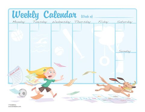 Weekly Calendar For Kids Printable Activity For Kids  Printable